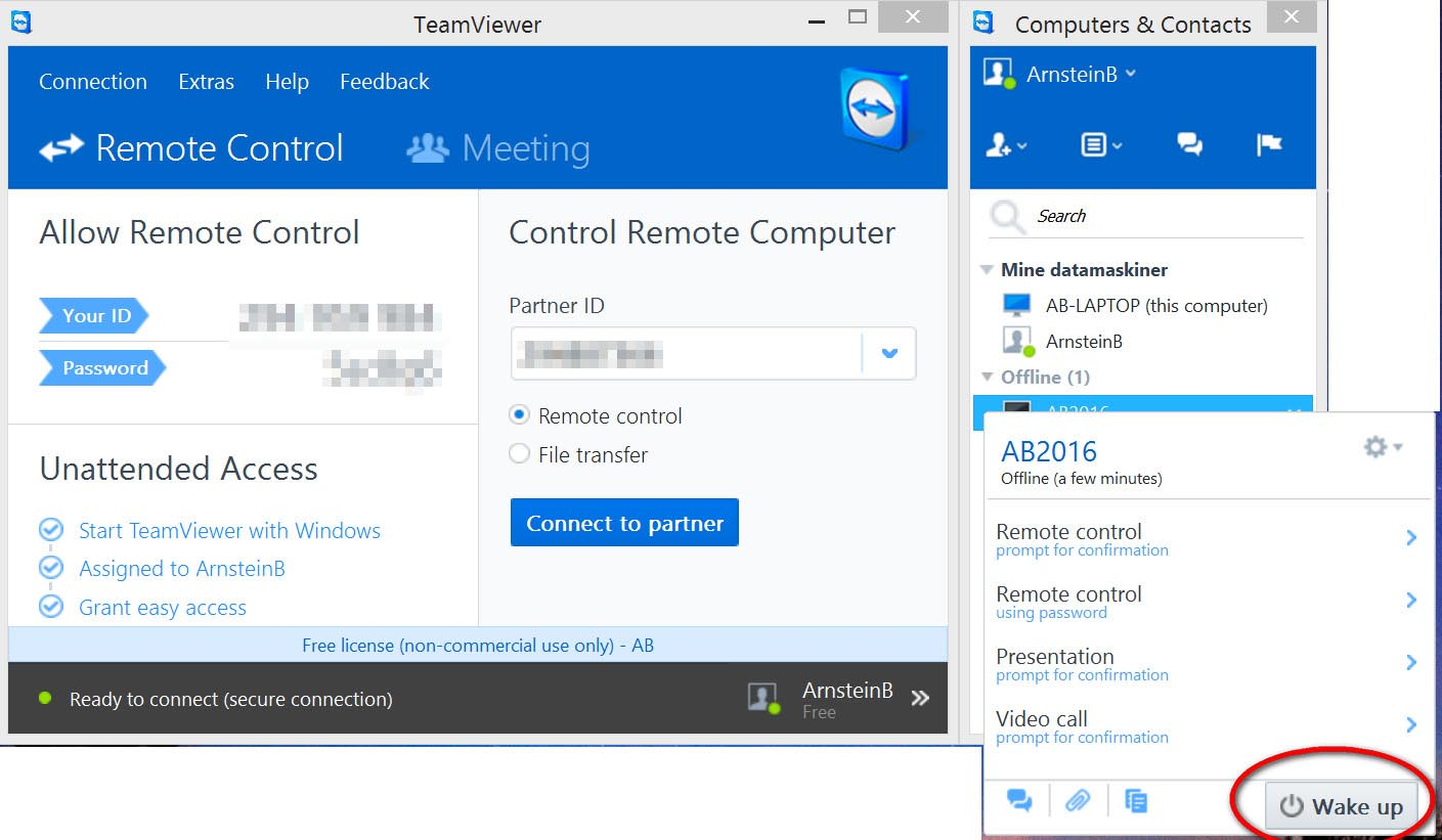 Wake-Up-LAN-problems, TeamViewer remote control of PC from